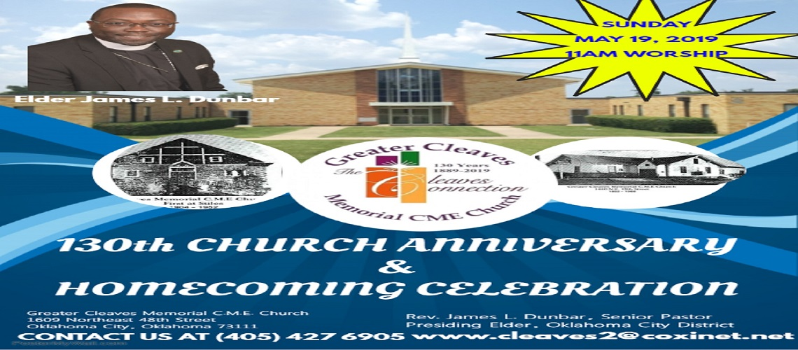 Greater Cleaves Memorial C.M.E. 130th Church Anniversary